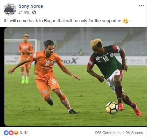 Sony Norde posted on Sunday from his official Facebook account
