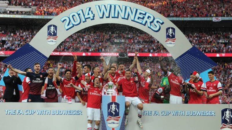 The Arsenal team with FA CUP 2014