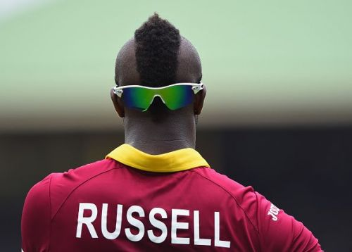 Flamboyant Andre Russell imitating Mr T's hairstyle during CWC'15