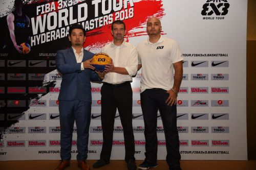 FIBA 3X3 MD Alex Sachez (Middle) at the press conference in Hyderabad for the World Tour Masters.