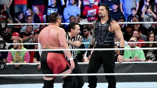 (Courtesy: WWE.com) Roman Reigns vs Samoa Joe main event at Blacklash 2018