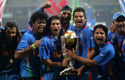 Sachin and Co celebrating during CWC 2011 finals