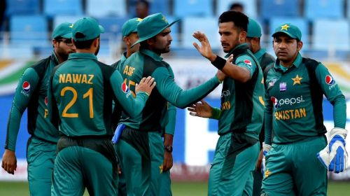Pakistan celebrating a wicket in the match against Hong Kong