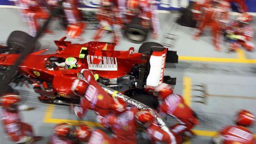 Ferrari crew at work