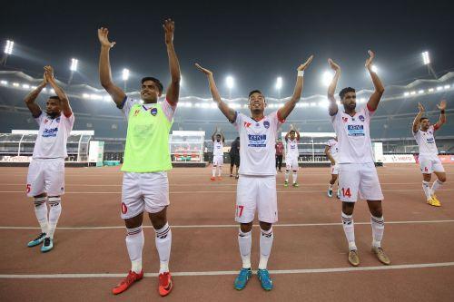 Delhi Dynamos FC players thanking fans after a match last season