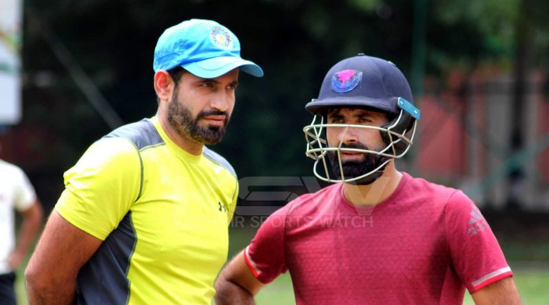 Parvez Rasool and Irfan Pathan during a practice session at SK Stadium, Srinagar/ PIC- KSW