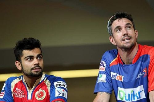 Kohli of RCB with Pietersen of DD - from the IPL, a few years ago.