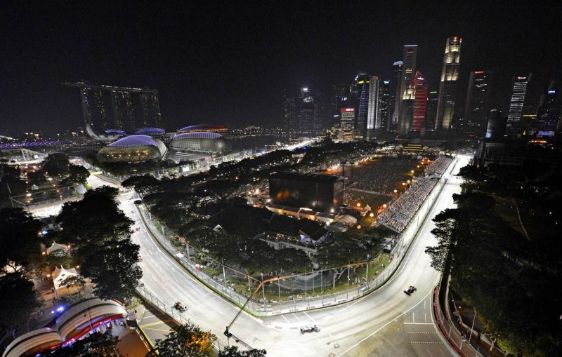 The Marina Bay Street Circuit under Lights