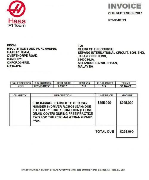 Bill submitted by Haas to Sepang Circuit for the damage caused by drainage cover