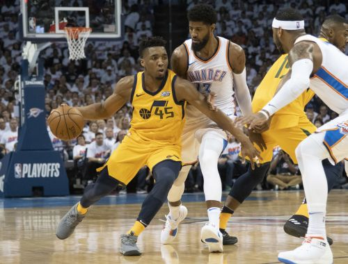 Donovan Mitchell battling Paul George during an eventful six-game series
