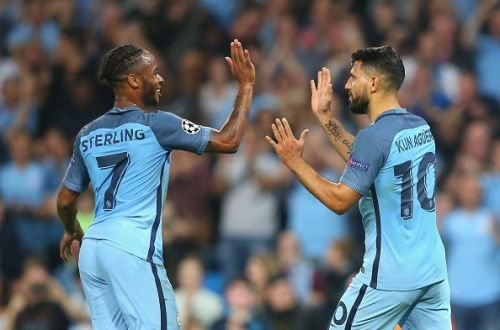 Aguero and Sterling celebrating a goal together