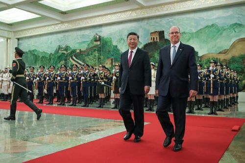 Monacan Head Of State Prince Albert II with President of China Xi Jinping