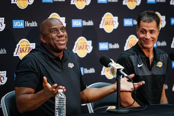 98463e7743a Earvin  Magic  Johnson   Rob Pelinka Los Angeles Lakers Media Availability