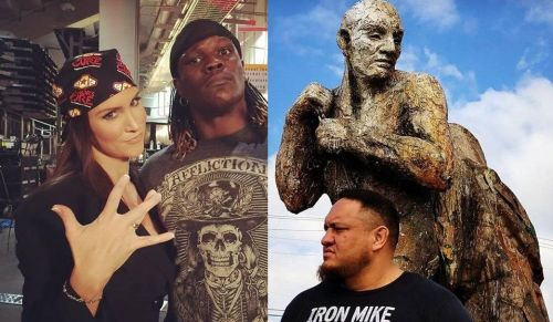 The WWE bosses including Stephanie McMahon (left) could possibly book R-Truth (center) as WWE Champion