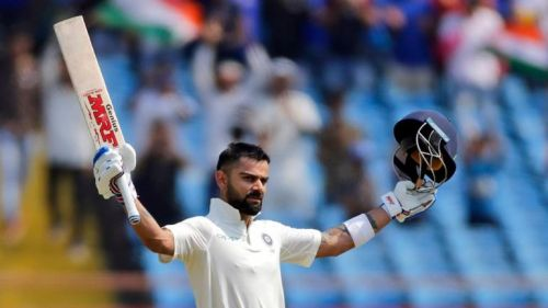 Virat celebrates after his 24th Test ton against West Indies at Rajkot