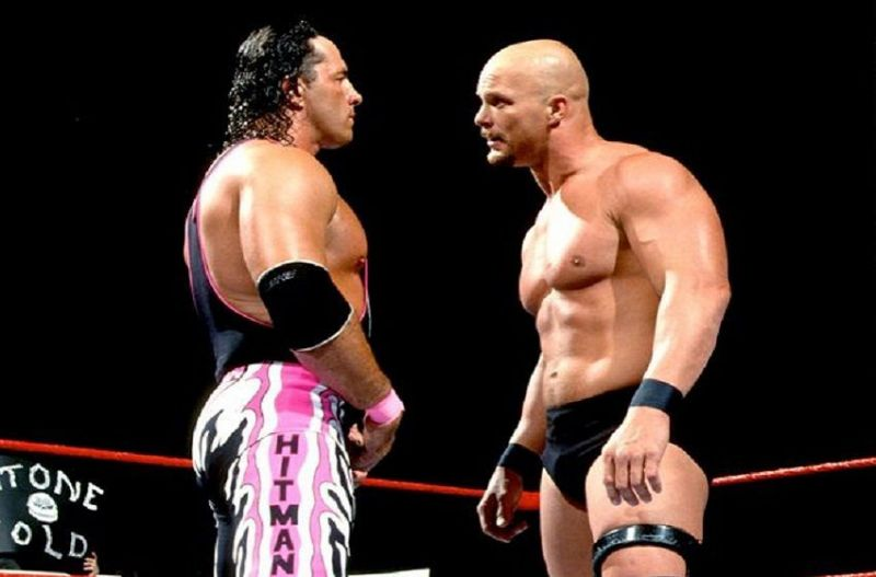 Austin and Hart square off at WrestleMania 13.