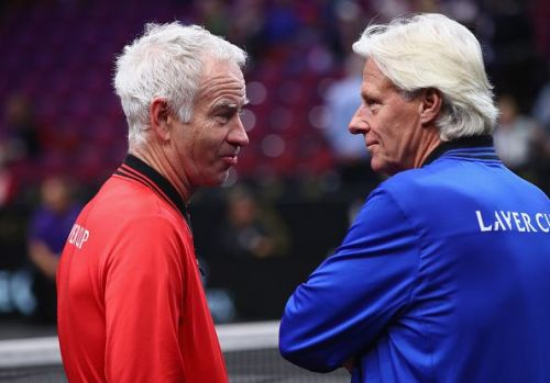 Borg and longtime rival McEnroe at the 2018 Laver Cup