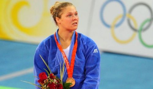 Ronda Rousey after winning the Olympic Bronze Medal at the Beijing Olympics 2008