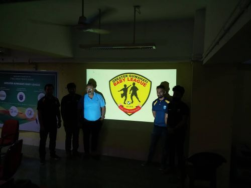 AFA secretary Ankur Dutta (third from left) along with Siddhartha Sankar Deka (second from right) at the launch of the Greater Guwahati Baby League