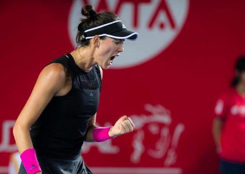 Garbine Muguruza lets out a roar during her quarterfinal match at the Hong Kong Tennis Open