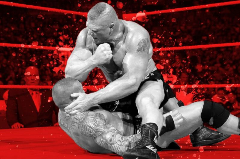 Brock Lesnar destroys Randy Orton with elbow strikes. Or does he?