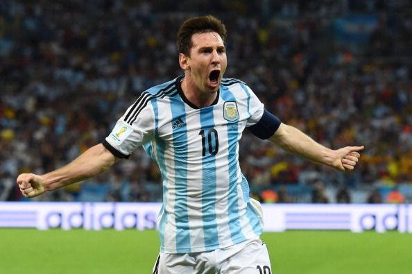 Messi celebrates his goal against Bosnia and Herzegovina - 2014 FIFA World Cup