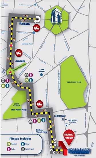 Route Map for the 2nd edition of Saksham Pedal Delhi