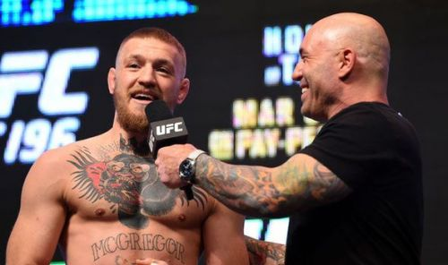 Conor McGregor (left) and Khabib Nurmagomedov were involved in a great match at UFC 229, which was followed by an ugly brawl witnessed by several viewers including Joe Rogan (right)