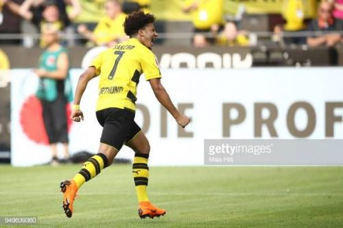 Jadon Sancho scored his first UCL goal vs Atletico Madrid