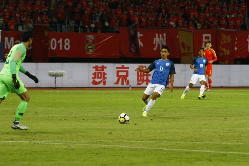 Sunil Chhetri of India in action against China during their international friendly in Suzhou (Image: ISL)