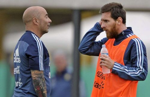 Former Argentina Coach- Jorge Sampaoli along with Lionel Messi