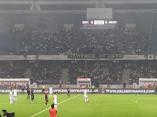 The banner at Jawaharlal Nehru Stadium yesterday