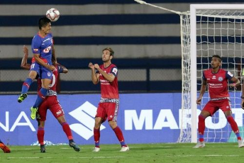 Sunil Chhetri of Bengaluru FC scores a goal against Jamshedpur FC during their Indian Super League game (Image: ISL)
