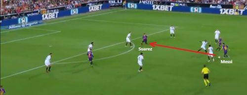 Messi and Suarez combining