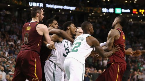 Marcus Smart and JR Smith scuffle
