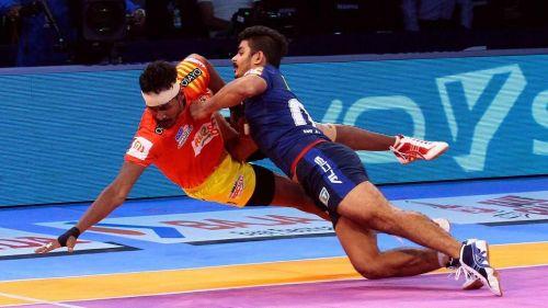 Prapanjan was the star raider for Gujarat despite his injury.