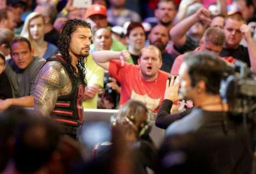 Reigns makes his way to the ring on RAW