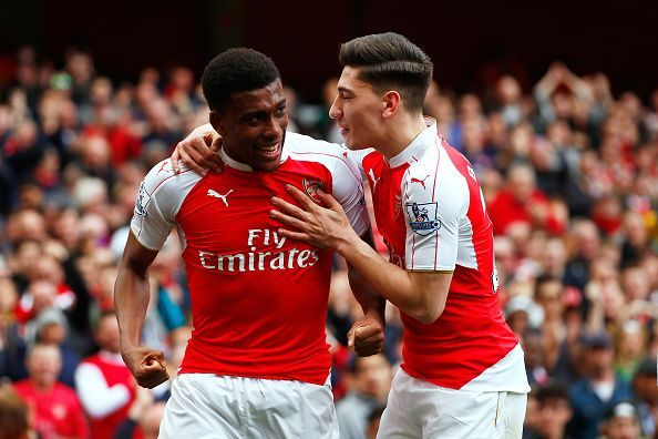 Alex Iwobi (l) and Hector Bellerin (r) are showing good signs of improvement under Emery