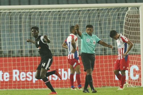 Rowllin Borges celebrates as ATK players drop their heads [Credits: ISL]