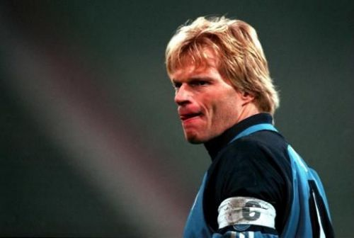 Oliver Kahn was penalized for handling the ball outside the box