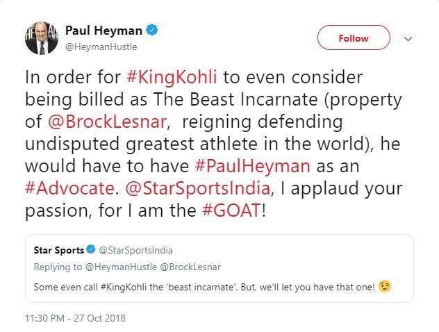 Paul Heyman applauds Star Sports! And we