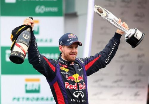 Sebastian Vettel after winning the F1 Grand Prix of Brazil 2013