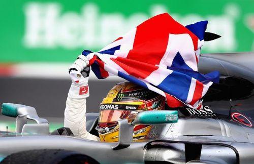 Hamilton celebrating his 4th world championship at Mexico GP