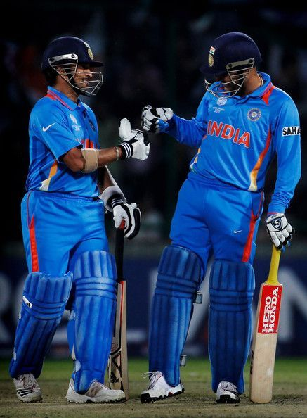 Tendulkar and Sehwag during a match in WC 2011