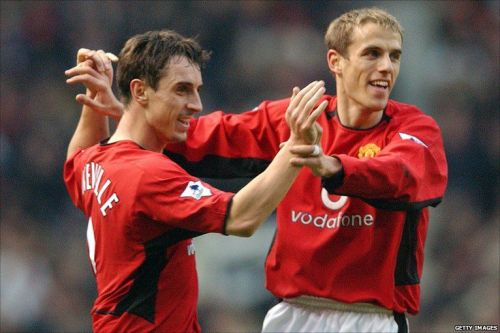 Gary and Phil Neville played together for Manchester United for 11 years