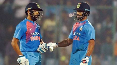 Sharma and Dhawan during a match in Asia Cup 2018