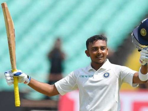 Image result for Prithvi Shaw becomes the third-youngest centurion on debut