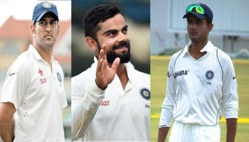Image result for सौरव गांगुली, एमएस धोनी और विराट कोहली की कप्तान के बीच अंतर