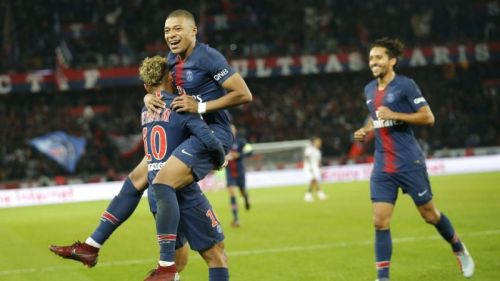 Kylian Mbappe celebrating a PSG goal during their win against Lyon