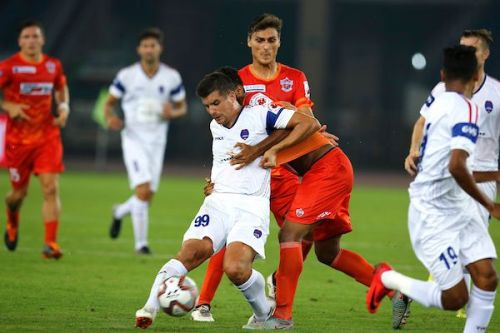 Andrija Kaludjerovic disappointed in his maiden outing for Delhi Dynamos [Credits: ISL]